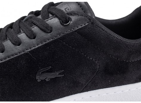 Chaussures Lacoste Carnaby Evo velours noire et blanche vue dessus