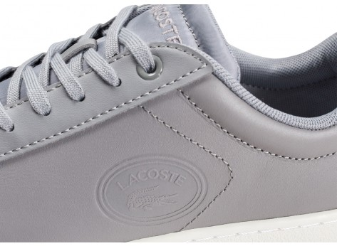 Chaussures Lacoste Carnaby Evo grise et blanche femme vue dessus