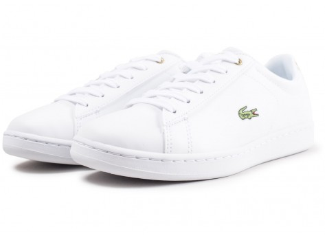 Chaussures Lacoste Carnaby Evo blanche et or junior vue intérieure