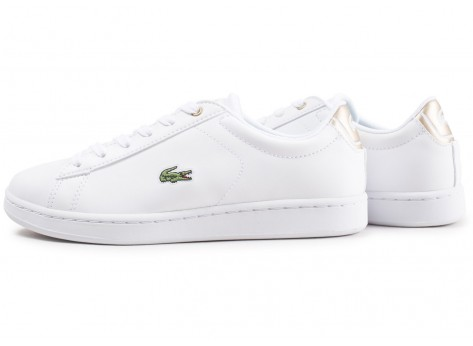 Chaussures Lacoste Carnaby Evo blanche et or junior vue extérieure