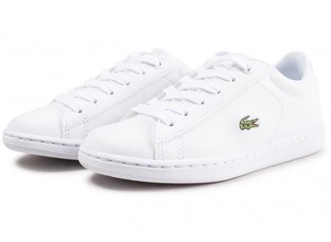 Chaussures Lacoste Carnaby Evo blanche et or enfant vue intérieure
