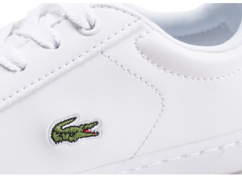 Chaussures Lacoste Carnaby Evo blanche et or enfant vue dessus