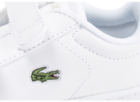Chaussures Lacoste Carnaby Evo blanche et or bébé vue dessus