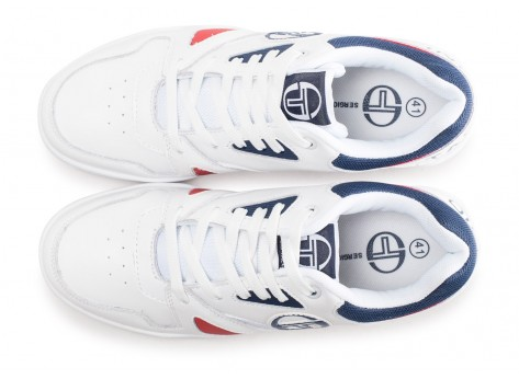 Chaussures Sergio Tacchini Top Play blanche et rouge vue arrière