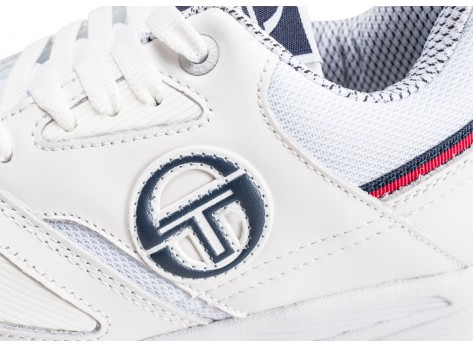 Chaussures Sergio Tacchini Top Play W blanche et bleue vue dessus