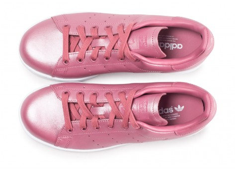Chaussures adidas Stan Smith Shiny rose femme vue arrière