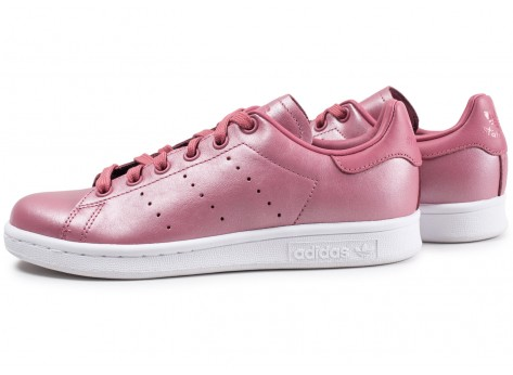 Chaussures adidas Stan Smith Shiny rose femme vue extérieure