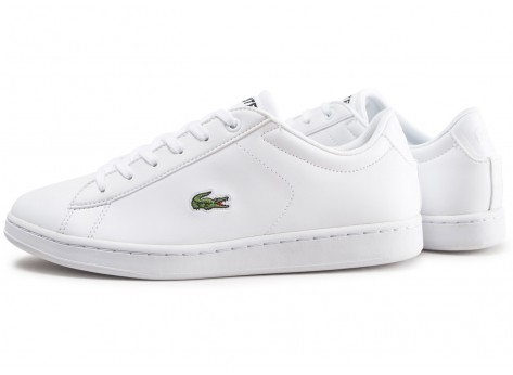Chaussures Lacoste Carnaby blanche junior vue extérieure