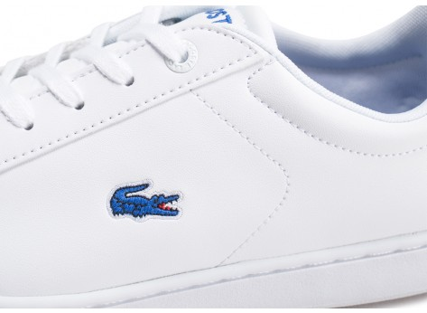 Chaussures Lacoste Carnaby blanche et bleue junior vue dessus