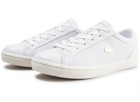 Chaussures Lacoste Straightset blanche femme vue intérieure