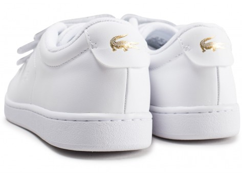 Chaussures Lacoste Carnaby blanche femme vue dessous