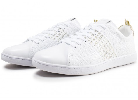 Chaussures Lacoste Carnaby Evo blanche et or  vue intérieure