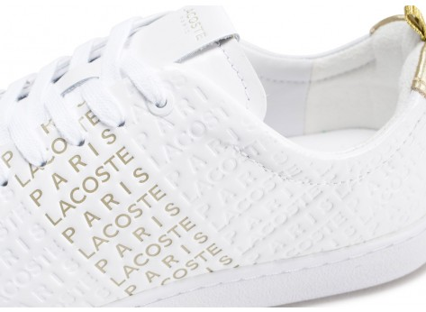 Chaussures Lacoste Carnaby Evo blanche et or  vue dessus