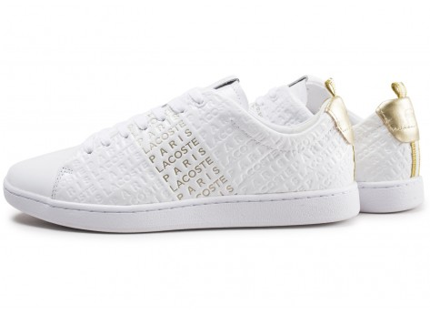 Chaussures Lacoste Carnaby Evo blanche et or  vue extérieure