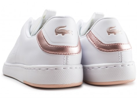 Chaussures Lacoste Carnaby blanche et rose femme vue dessous