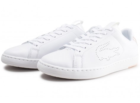 Chaussures Lacoste Carnaby blanche et rose femme vue intérieure