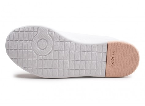 Chaussures Lacoste Carnaby blanche et rose femme vue avant