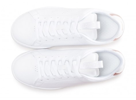 Chaussures Lacoste Carnaby blanche et rose femme vue arrière