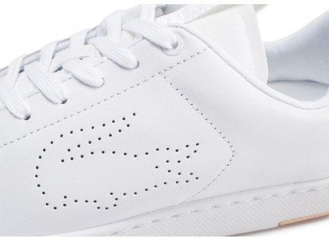 Chaussures Lacoste Carnaby blanche et rose femme vue dessus