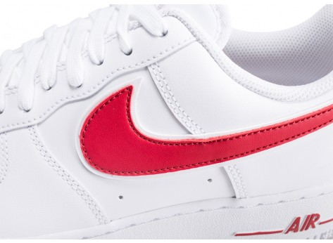 Chaussures Nike Air Force 1 '07 blanche et rouge vue dessus