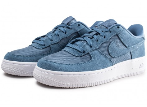 Chaussures Nike Air Force 1 Suede bleue junior vue intérieure