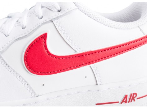 Chaussures Nike Air Force 1 Low blanche et rouge junior vue dessus