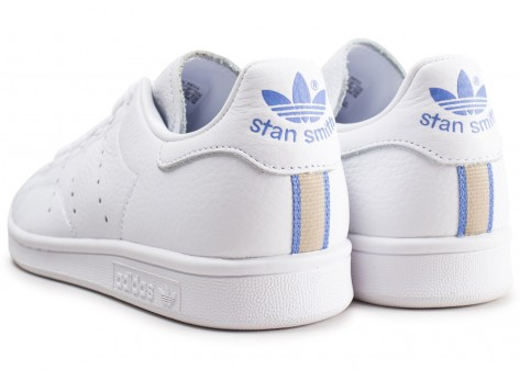Chaussures adidas Stan Smith blanche lila et or femme vue dessous