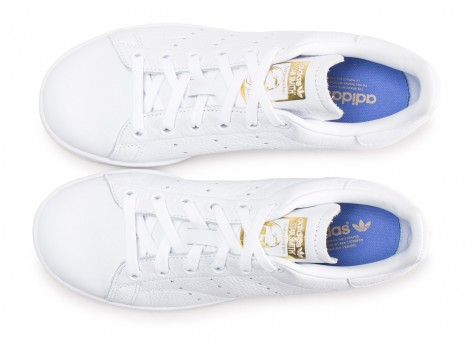 Chaussures adidas Stan Smith blanche lila et or femme vue arrière