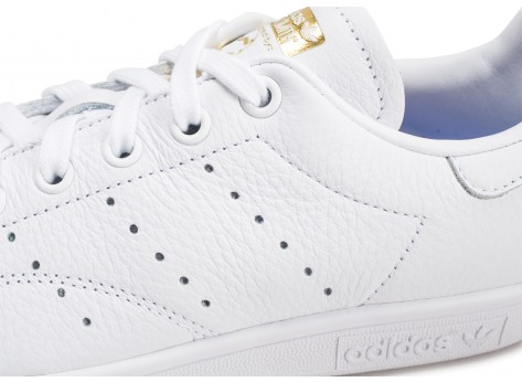 Chaussures adidas Stan Smith blanche lila et or femme vue dessus