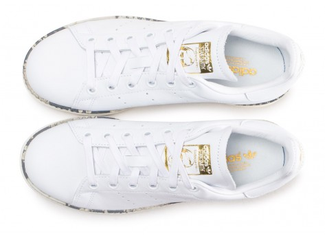 Chaussures adidas Stan Smith New Bold blanche femme vue arrière
