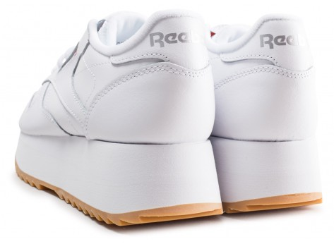 Chaussures Reebok Classic Leather Double blanche femme vue dessous
