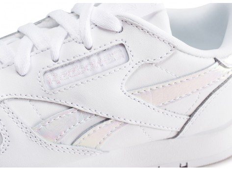 Chaussures Reebok Classic Leather blanc iridescent enfant vue dessus