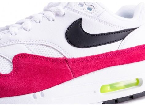 Chaussures Nike Air Max 1 blanche et rose  vue dessus