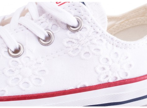 Chaussures Converse Chuck Taylor All Star enfant basse blanche broderie vue dessus