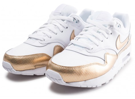 Chaussures Nike Air Max 1 EP blanche et or junior vue intérieure