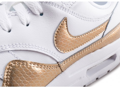 Chaussures Nike Air Max 1 EP blanche et or junior vue dessus
