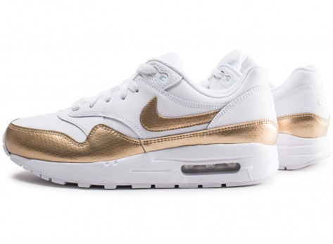 Chaussures Nike Air Max 1 EP blanche et or junior vue extérieure