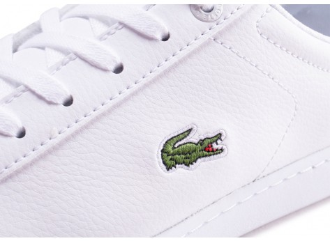 Chaussures Lacoste Carnaby Evo blanche et or junior vue dessus