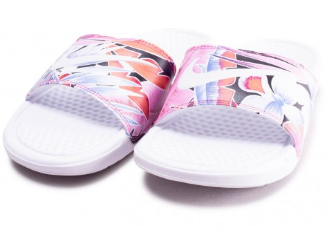 Chaussures Nike Benassi Print Just Do It blanche femme vue intérieure