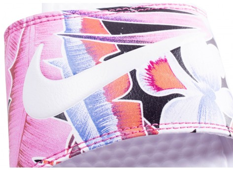 Chaussures Nike Benassi Print Just Do It blanche femme vue dessus