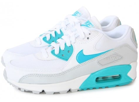 Nike Air Max 90 Essential Blanche Turquoise - Chaussures ...