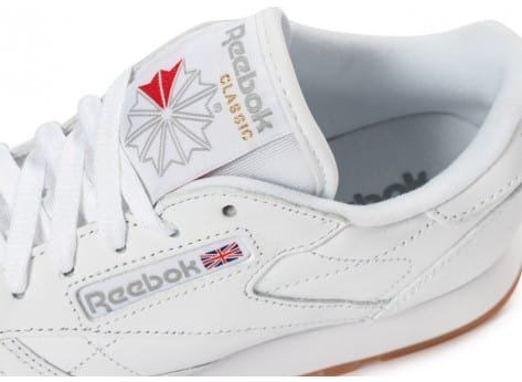 Chaussures Reebok Classic Leather W Gum blanche vue dessus
