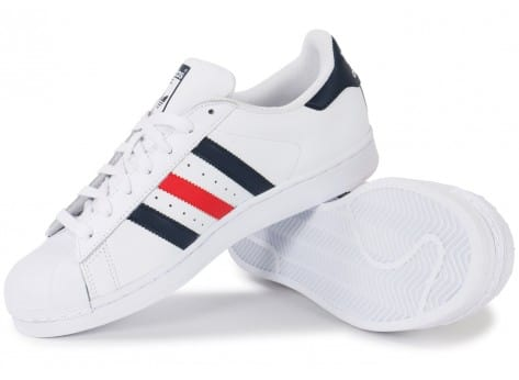 Adidas Superstar Foundation Bleu Blanc Rouge Chaussures Baskets