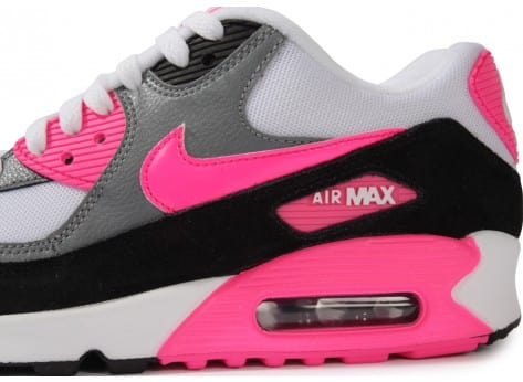 Chaussures Nike Air Max 90 Essential Blanche Rose vue dessus
