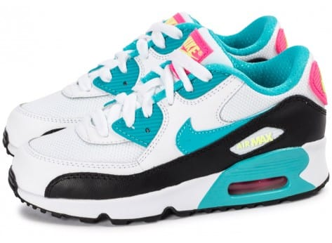 Nike Air Max 90 Enfant blanche et turquoise - Chaussures ...