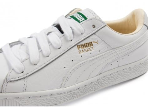 Chaussures Puma Basket Classic cuir blanche vue dessus