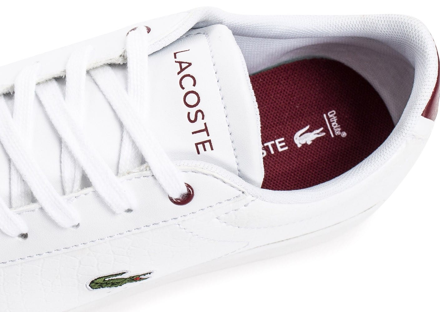 ec71223ad4 Lacoste Carnaby EVO Croc blanche et rouge - Chaussures Baskets femme ...