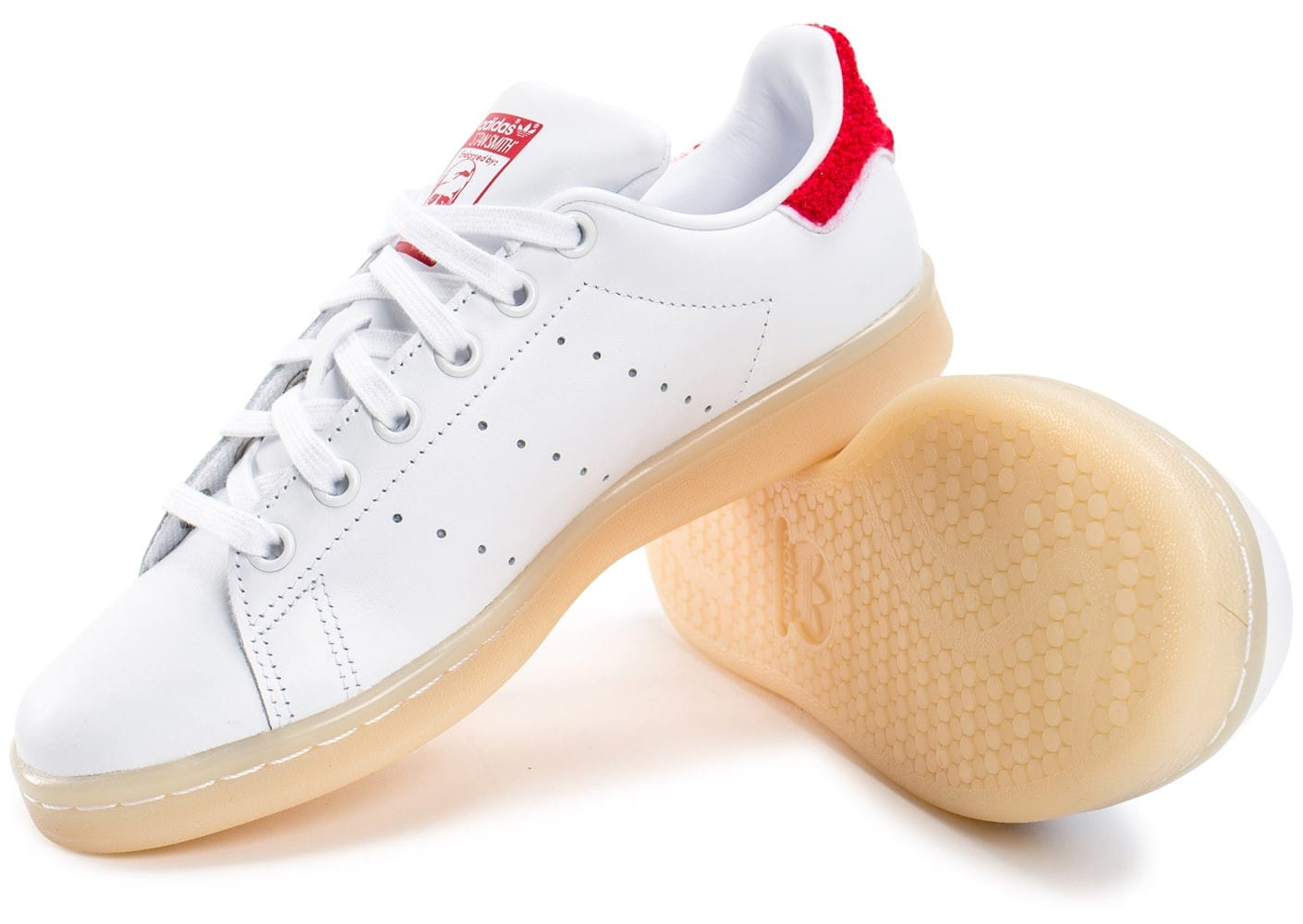 mieux aimé 06aa3 2f78f adidas Stan Smith Wool blanche et rouge - Chaussures adidas ...