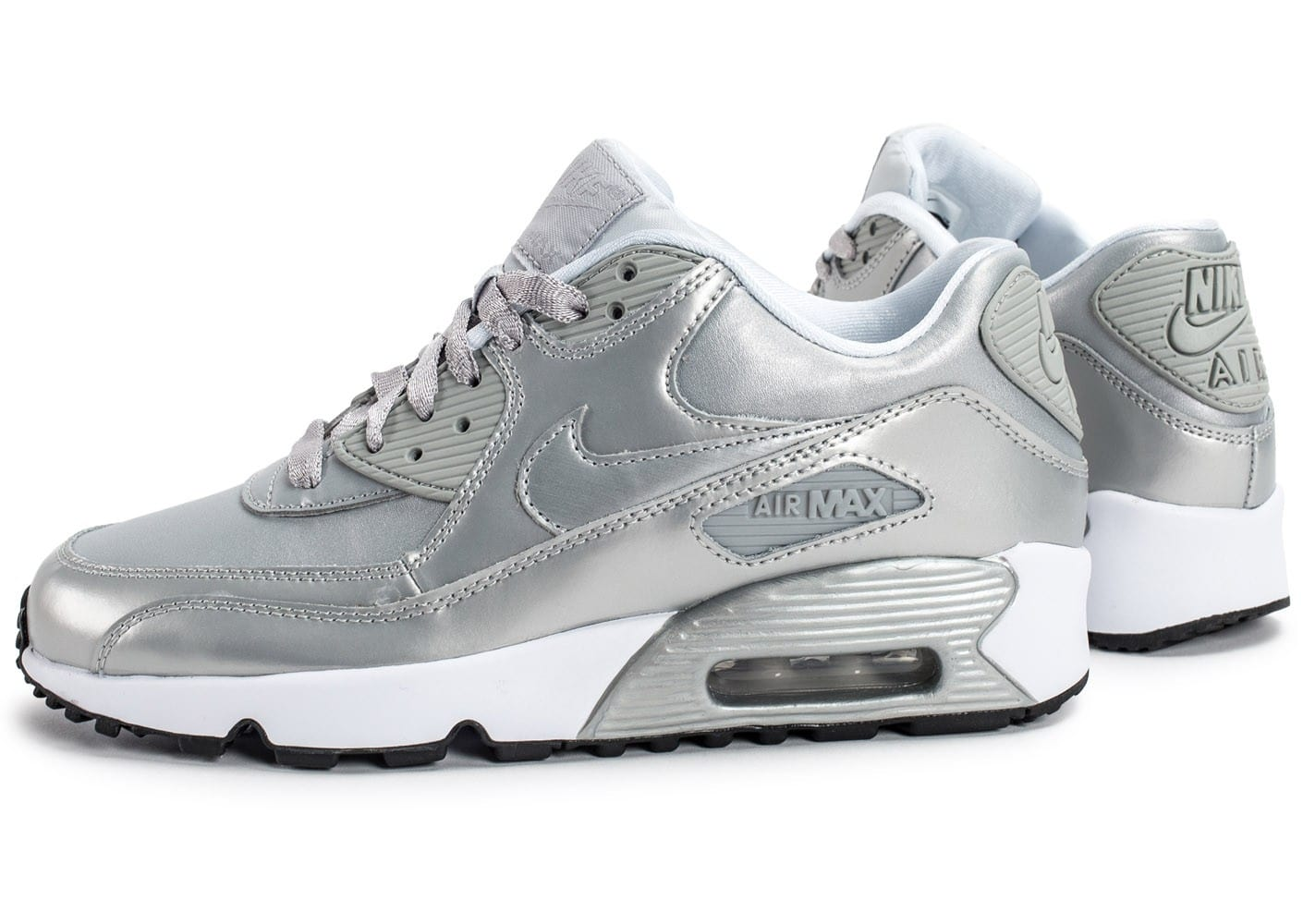 huge selection of f6889 cd9db Cliquez pour zoomer Chaussures Nike Air Max 90 SE Leather silver pack vue  extérieure ...