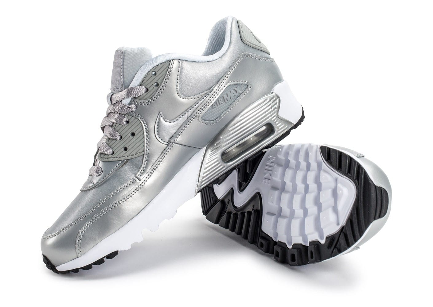 on sale 899b8 1d688 ... Chaussures Nike Air Max 90 SE Leather silver pack vue avant ...